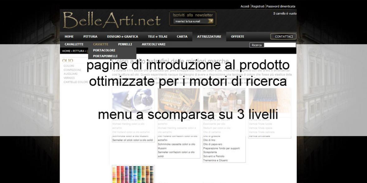 ecommerce bellearti.net pagina di introduzione ai prodotti