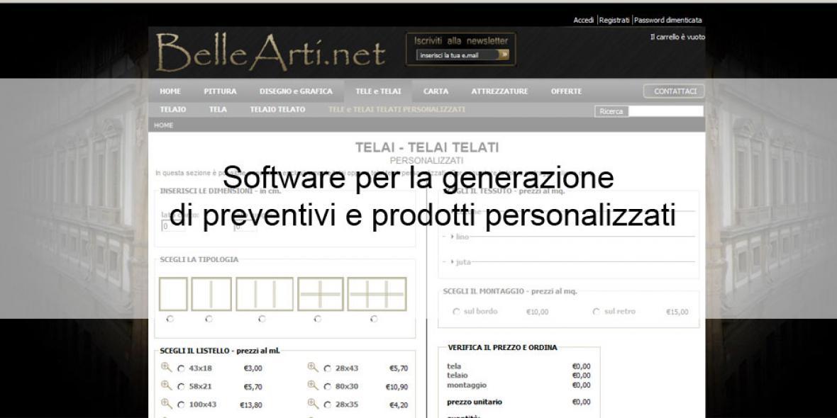 ecommerce bellearti.net software prodotti personalizzati